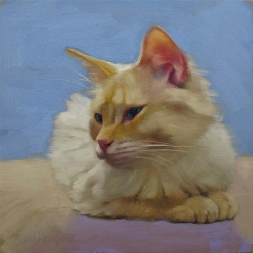 """Serena painting of peaceful blue eyed white cat"" original fine art by Diane Hoeptner"