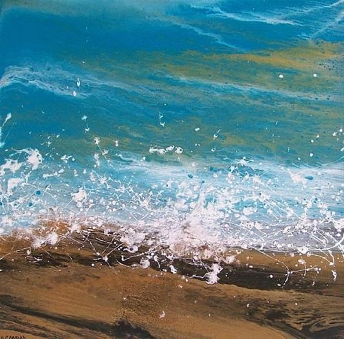 """Contemporary Abstract Seascape Painting,Coastal Art Splash #14 by International Contemporary Artis"" original fine art by Kimberly Conrad"