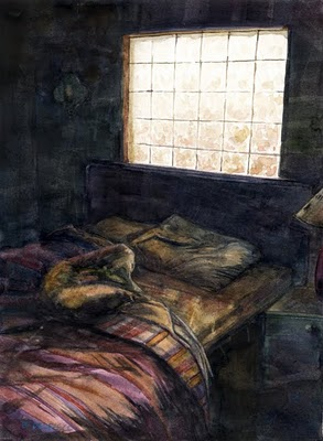 """Watercolor: You Don't Have to Make the Bed in Mexico"" original fine art by Belinda Del Pesco"