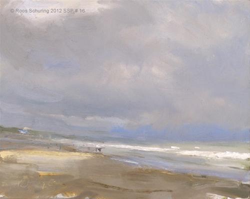 Seascape spring # 16 Rain - zeegezicht original fine art by Roos Schuring