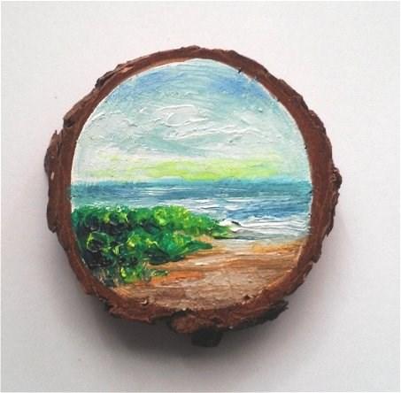 """Mini Oil Painting Grassy Beach on Wood Slice"" original fine art by Camille Morgan"