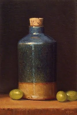 """Bottle with Green Grapes"" original fine art by Abbey Ryan"