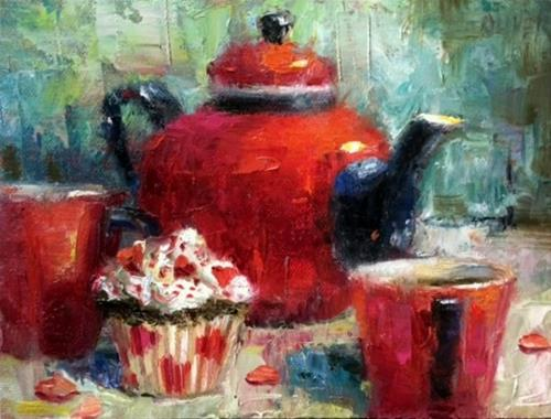 """""""Tea for Two - Valentine"""" original fine art by Julie Ford Oliver"""