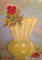 """Tea Roses in Chartruese Vase"" original fine art by J H Graves"