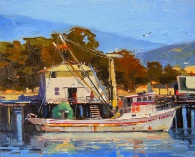 """Working Boat Monterey, California, coastal, oil painting by Robin Weiss"" original fine art by Robin Weiss"