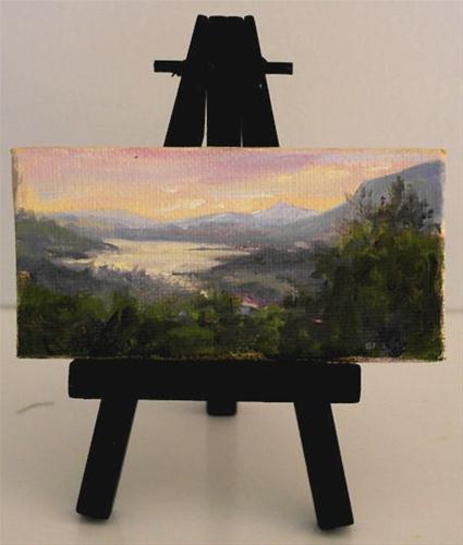"""Hudson River Sunset in Miniature"" original fine art by Jamie Williams Grossman"