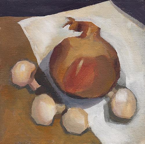 """Onion and Button Mushrooms"" original fine art by J M Needham"