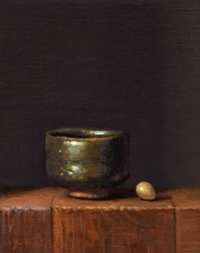 """Still life with Korean Bowl & Bird's Egg"" original fine art by Abbey Ryan"