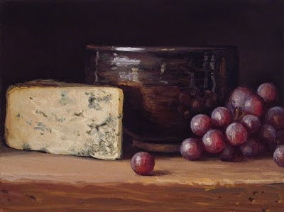 """Still Life with Bleu Cheese, Bowl, and Red Grapes"" original fine art by Abbey Ryan"