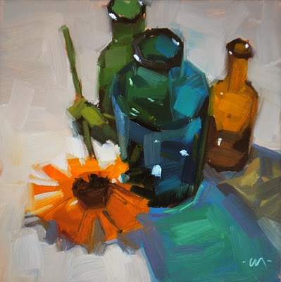 """Bottle Shadows"" original fine art by Carol Marine"