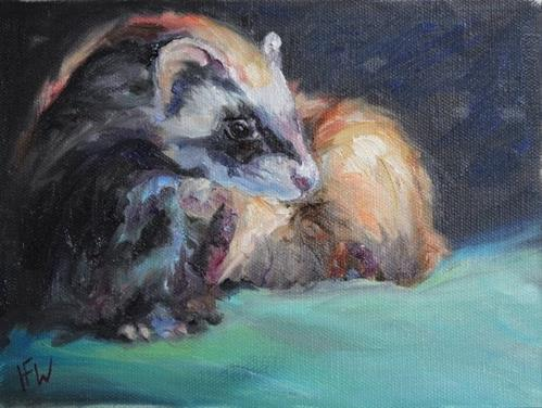 """Masked Ferret"" original fine art by H.F. Wallen"