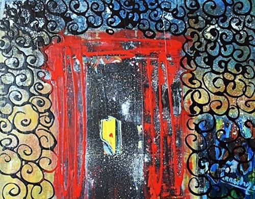"""Abstract Expressionism Art Painting The Red Door by International Artist Arrachme"" original fine art by Arrachme Art"