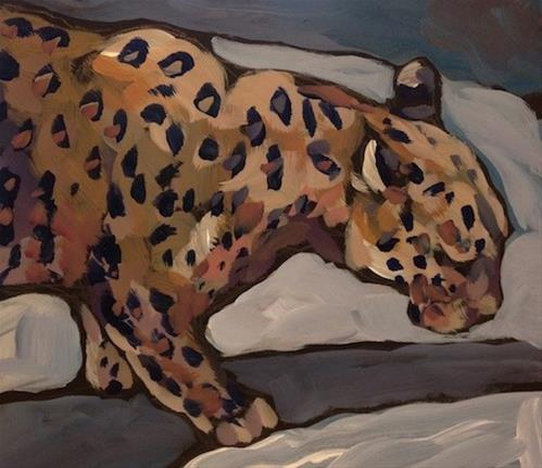 """Snow Leopard"" original fine art by Kat Corrigan"
