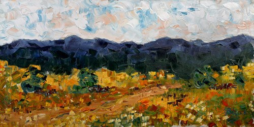 """Impressionism  Colorado Landscape Painting Blue Mountains  by Colorado Impressionist Judith Babcoc"" original fine art by Judith Babcock"