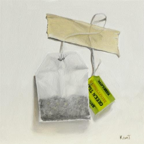 """Green Tea Bag"" original fine art by Kim Testone"
