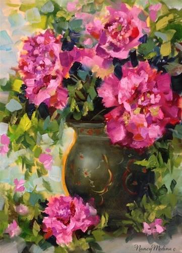 """Pink Dusk Peonies and a Florida Flower Painting Workshop by Nancy Medina"" original fine art by Nancy Medina"
