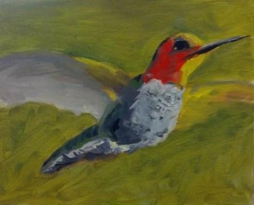 """Lil' Hummer"" original fine art by Susan Elizabeth Jones"