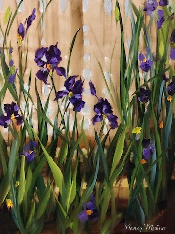 """Early Garden Purple Iris by Texas Flower Artist Nancy Medina"" original fine art by Nancy Medina"