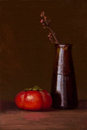 """Still life with Persimmon & Mistletoe - 24-hour auction"" original fine art by Abbey Ryan"