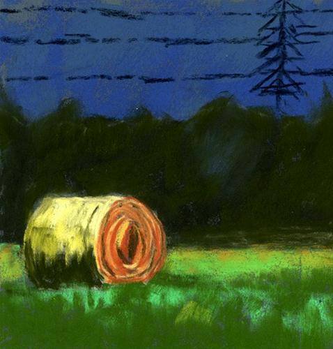 """Highway Hay Bale"" original fine art by Donna Crosby"