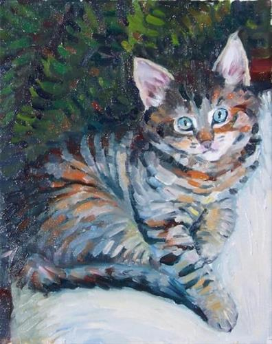 """Tiger,figure,oil on canvas,10x8,priceNFS"" original fine art by Joy Olney"