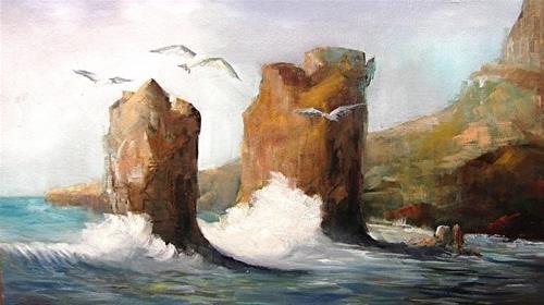 """Sea Gulls at the Sea"" original fine art by Barbara Haviland"