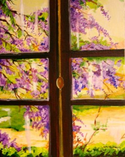 """Wisteria Window"" original fine art by JoAnne Perez Robinson"