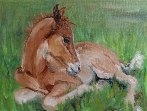 """Sleepy Foal"" original fine art by H.F. Wallen"
