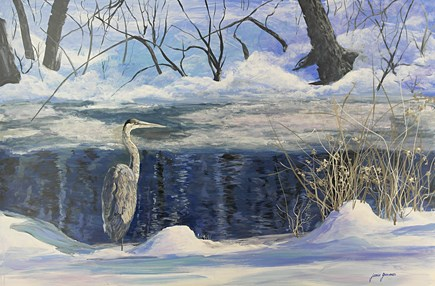 """Great Blue Heron in Winter"" original fine art by Jamie Williams Grossman"