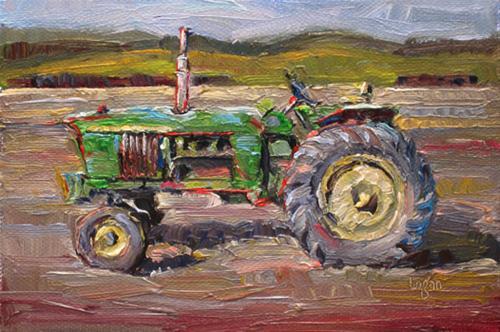 """John Deere Tractor"" original fine art by Raymond Logan"
