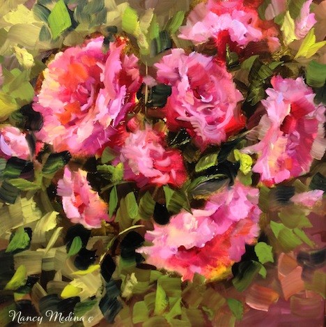 """Summer Rain Pink Roses by Texas Flower Artist Nancy Medina"" original fine art by Nancy Medina"