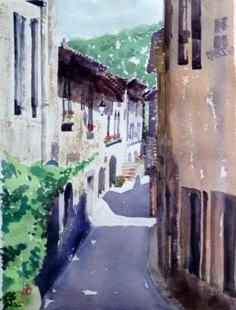 """Through the Village, Langnedoc, France"" original fine art by Lisa Fu"
