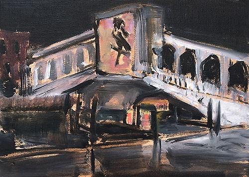 """Rialto at Night"" original fine art by Kevin Inman"