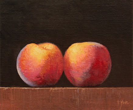 """Two Peaches at Sunset"" original fine art by Abbey Ryan"
