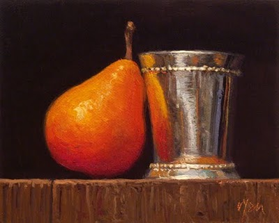 """Still Life with Silver Cup and Seckel Pear"" original fine art by Abbey Ryan"