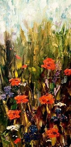 """Palette Knife Floral Painting ,Landscape Painting Hidden Garden by  Colorado Impressionist Judith"" original fine art by Judith Babcock"