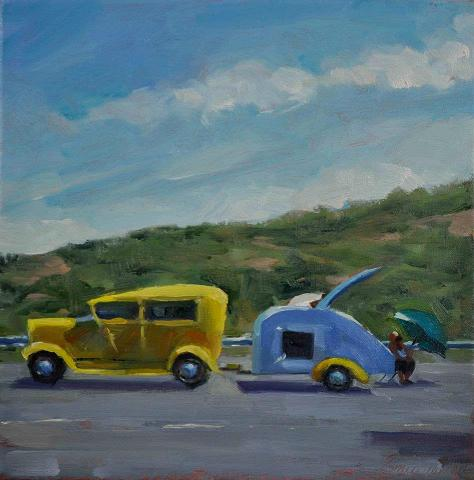 """The Rest Stop 10x10 oil/linen"" original fine art by Emiliya Lane"