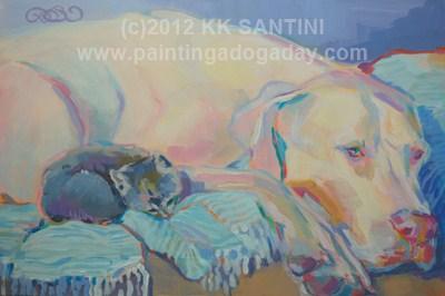 """Babysitting"" original fine art by Kimberly Santini"