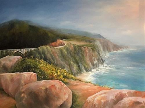 """Bixby Bridge, Big Sur, 3 x 4' Oil, Seascape"" original fine art by Donna Pierce-Clark"