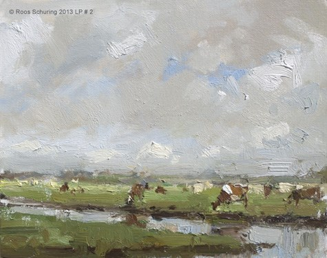 """Cows and Clouds - LP#2 painting Koeien (available)"" original fine art by Roos Schuring"