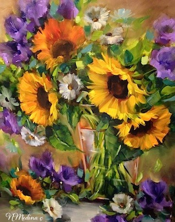 """Moonglow Sunflowers - Flower Paintings by Nancy Medina"" original fine art by Nancy Medina"
