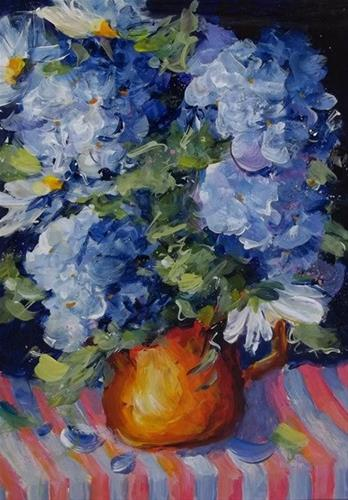 """Original Blue Hydrangea Daisy Art Painting Gome Decor"" original fine art by Alice Harpel"