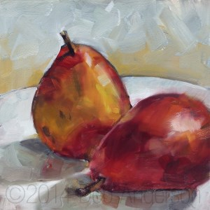 """Oil Painting: Red D'Anjou Pears"" original fine art by Deb Anderson"