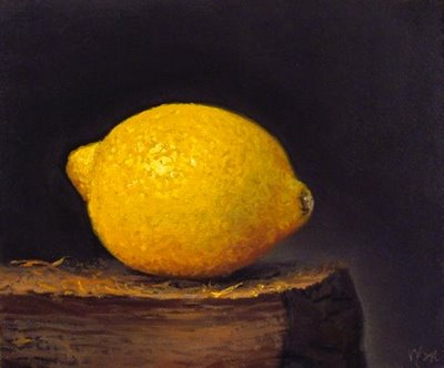 """Lemon on a Wood Block"" original fine art by Abbey Ryan"