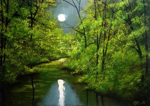 """Mirrored Moon"" original fine art by Bob Kimball"
