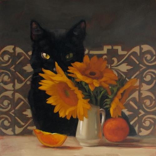 """Black Muse a painting of cat and sunflowers"" original fine art by Diane Hoeptner"