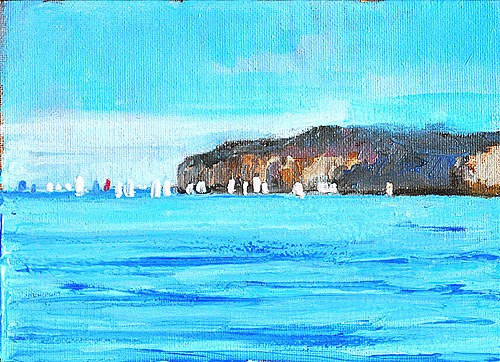 """Sailboats off Dana Point"" original fine art by Kevin Inman"
