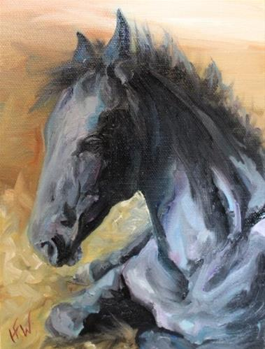 """Friesian Foal"" original fine art by H.F. Wallen"