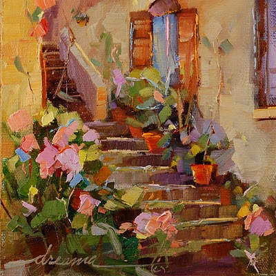 """Rose Steps of Italy SOLD"" original fine art by Dreama Tolle Perry"