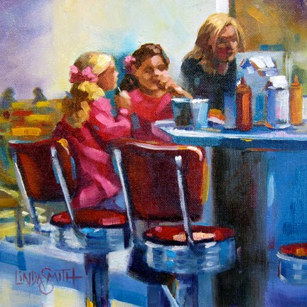 """Lunch at the Mall"" original fine art by Linda K Smith"